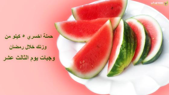 وجبات اليوم الثالث عشر لحملة اخسري 5 كيلو من وزنك خلال رمضان